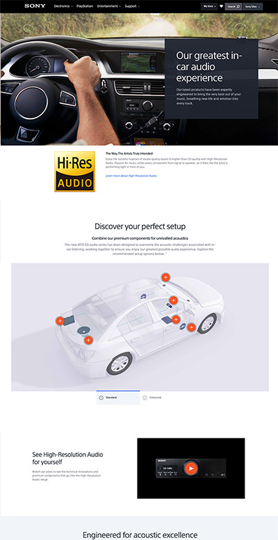 Sony Car High-Resolution Audio Out Of Flow marketing page